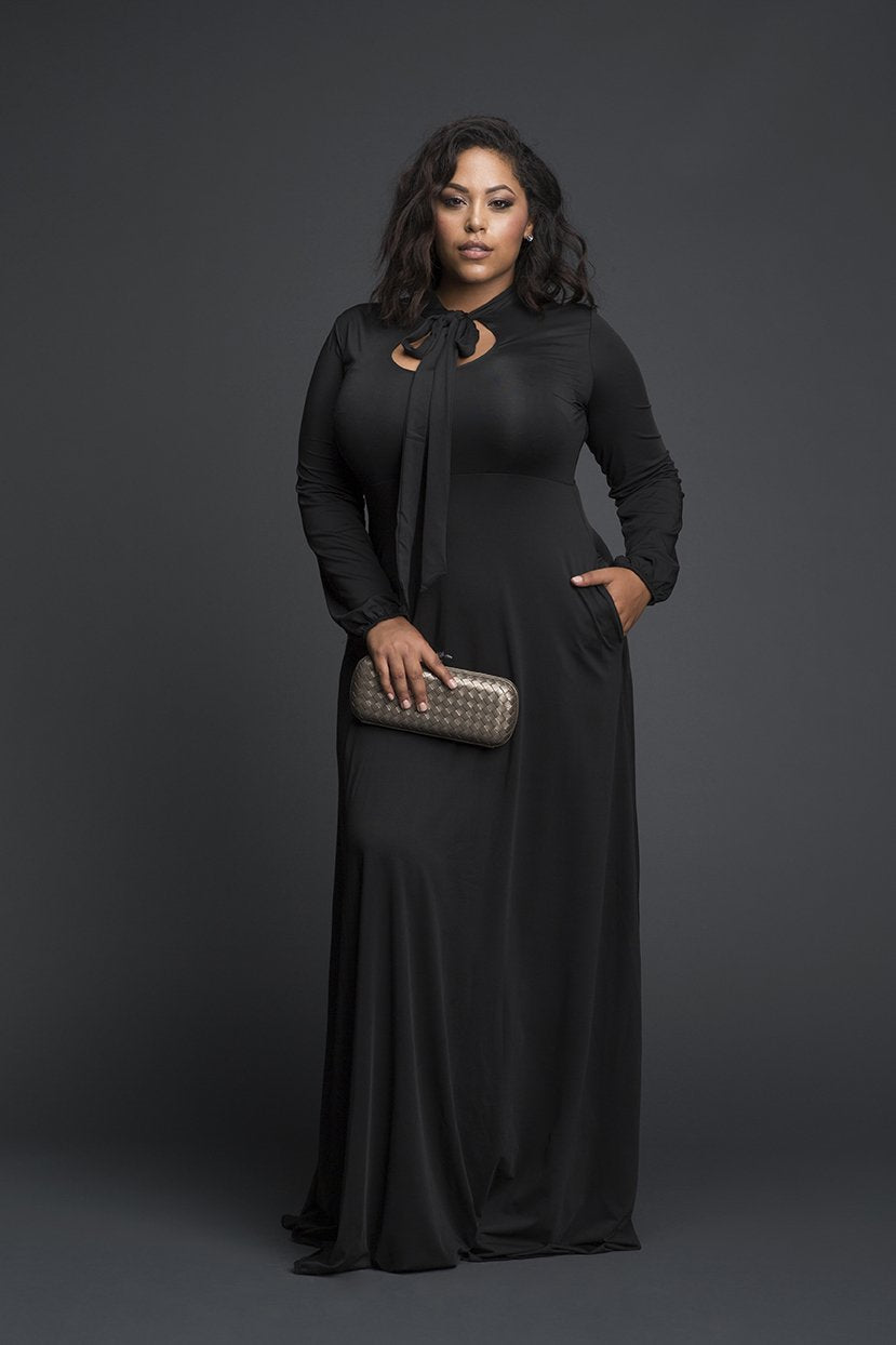 Empire Line Black Keyhole tie Maxi Dress