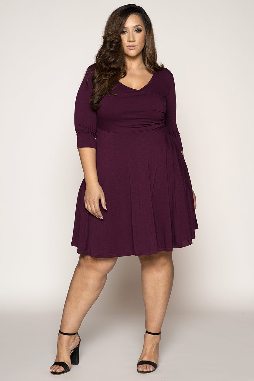 Fit and Flat Wine Jersey Dress