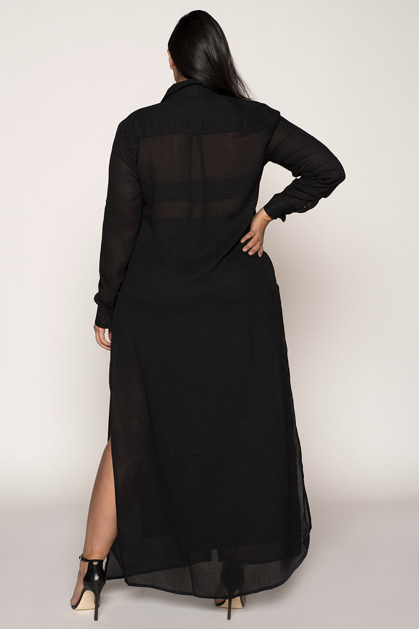Floor length Textured Shirt Dress