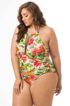 Floral One Piece with Mesh