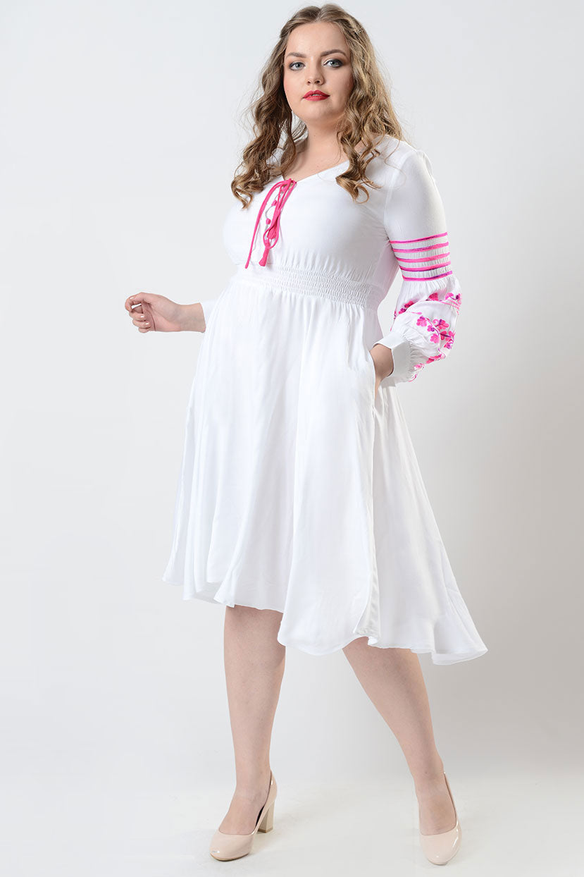 60s 70s Plus Size Dresses, Clothing, Costumes Flower in the garden white flared dress $39.99 AT vintagedancer.com