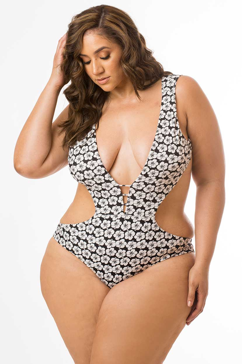 Flowered Black and White Backless One Piece