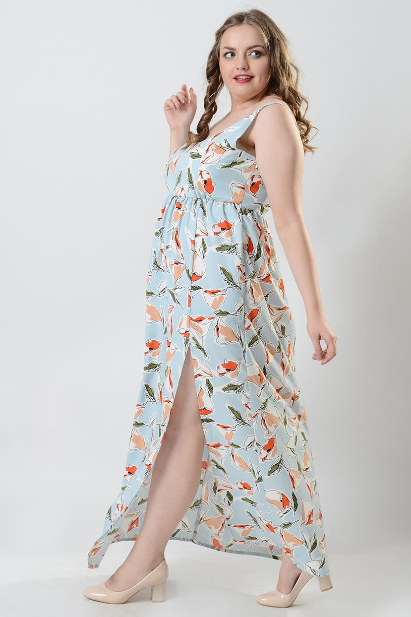 Flowers Crepe Print Halter Maxi Dress