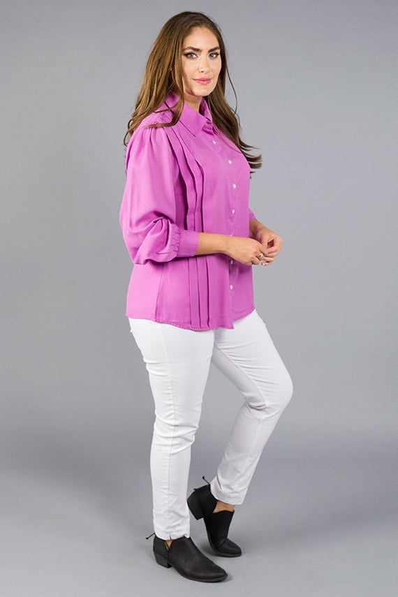 Formal Lilac orchid button down pintuck shirt
