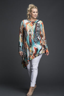 Graphic Print Slant Hem Boho Tunic Top