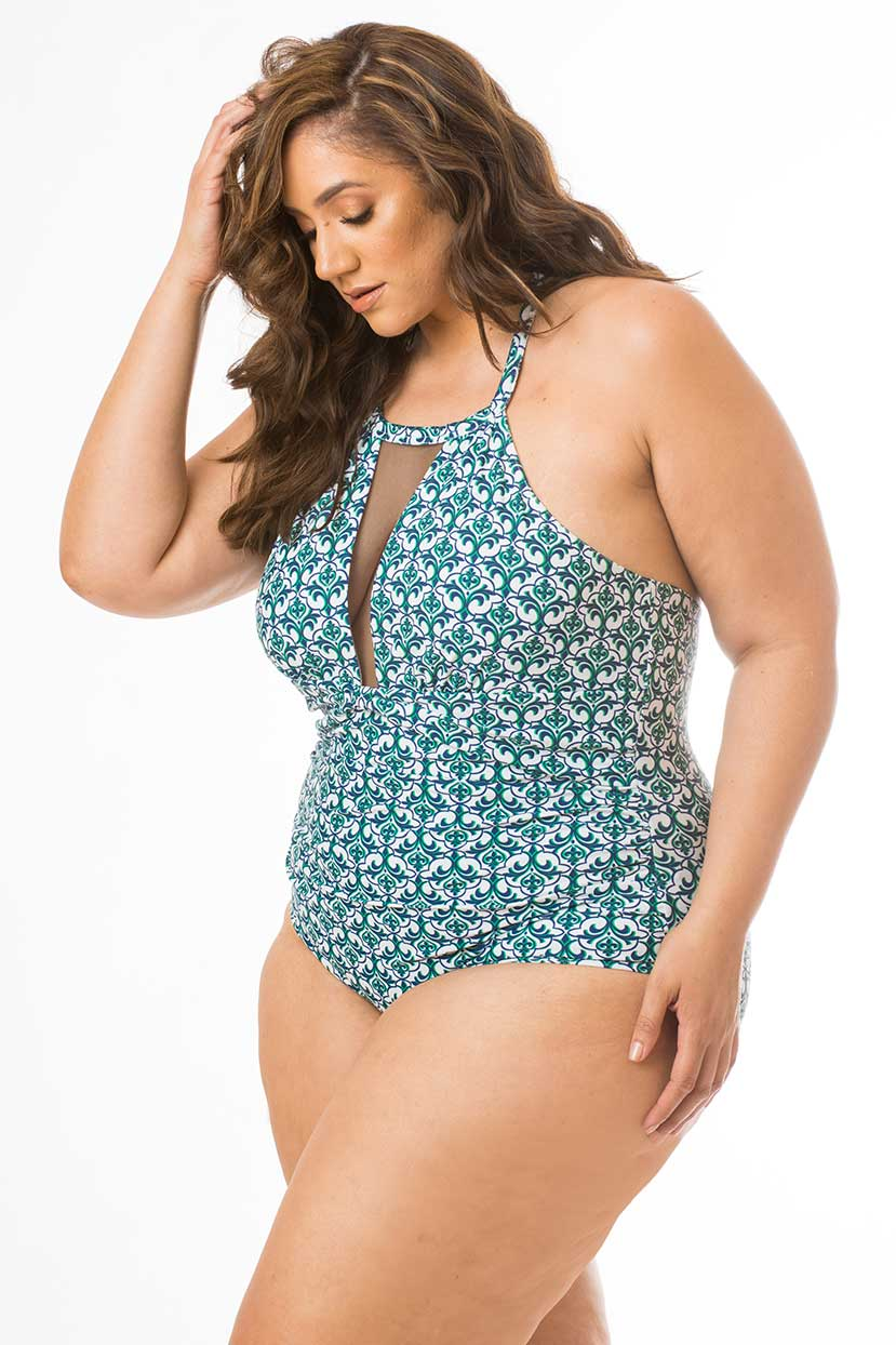 Green Aqua Print One Piece