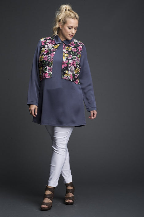 Collar Tunic with Floral Print Vest