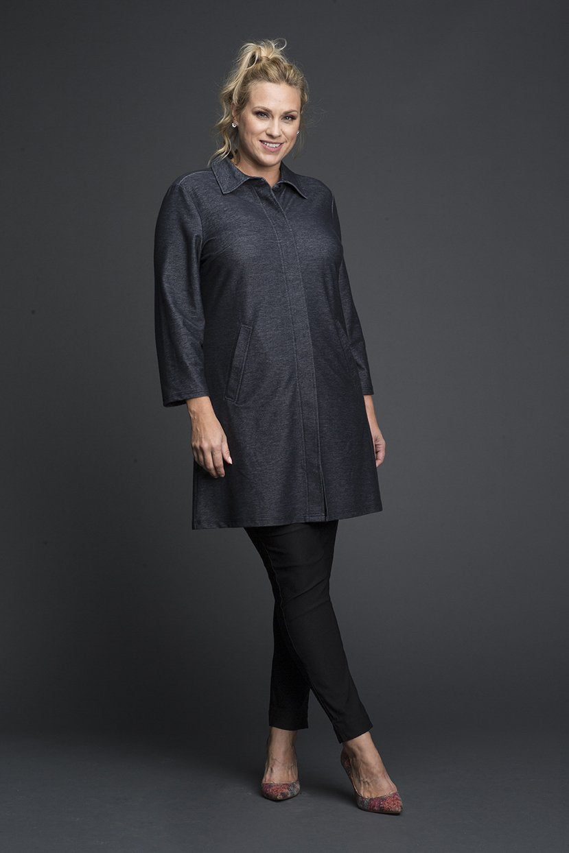 Plus Size Pocketed Collared Shirt Dress