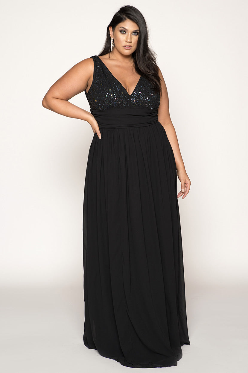 Hand Embroidered Plunge Neck Plus Size Gown