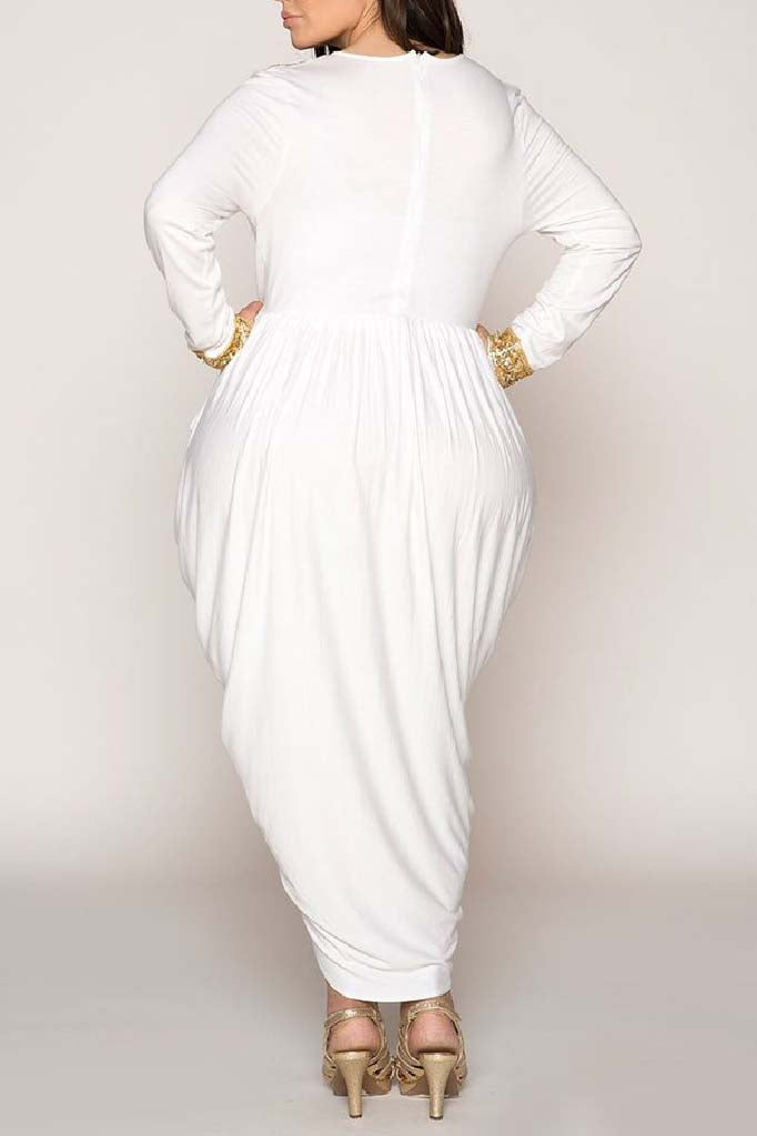 Hourglass Ivory Egyptian Harem Wrap Over Embellished Dress