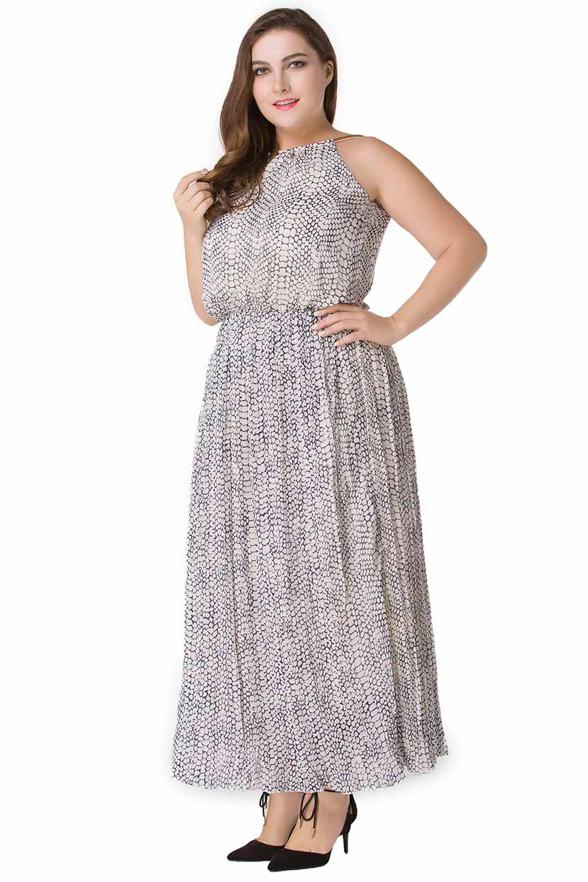 Snake Skin Textured Long Dress