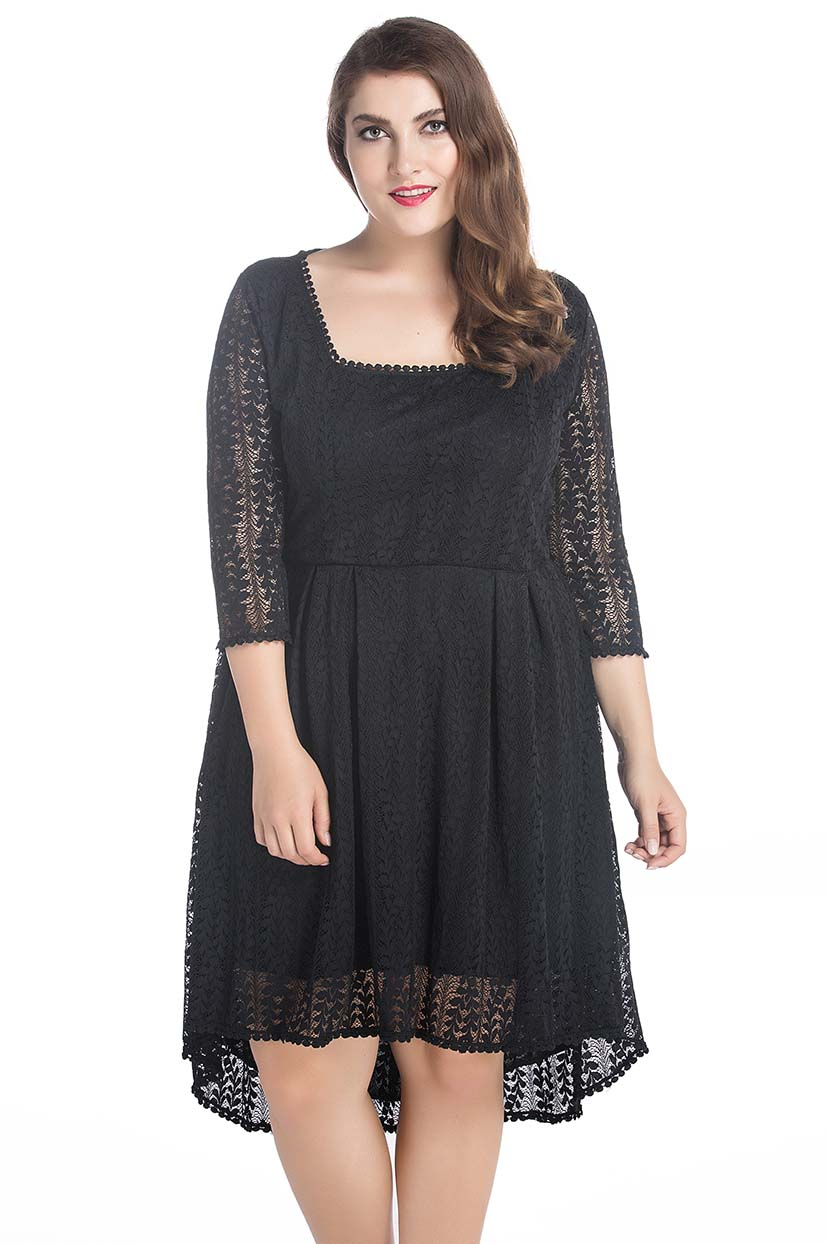 Leaf Net High Low Dress