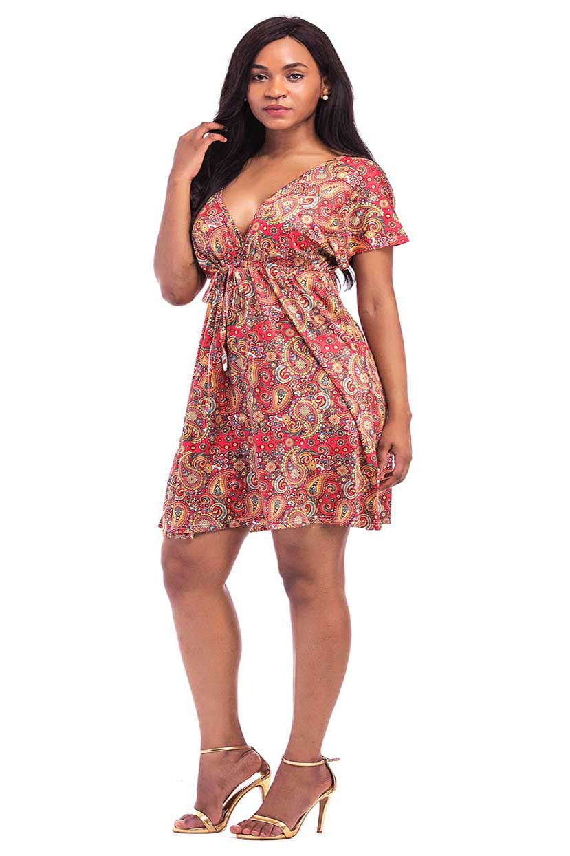 Paisley Print Short Dress