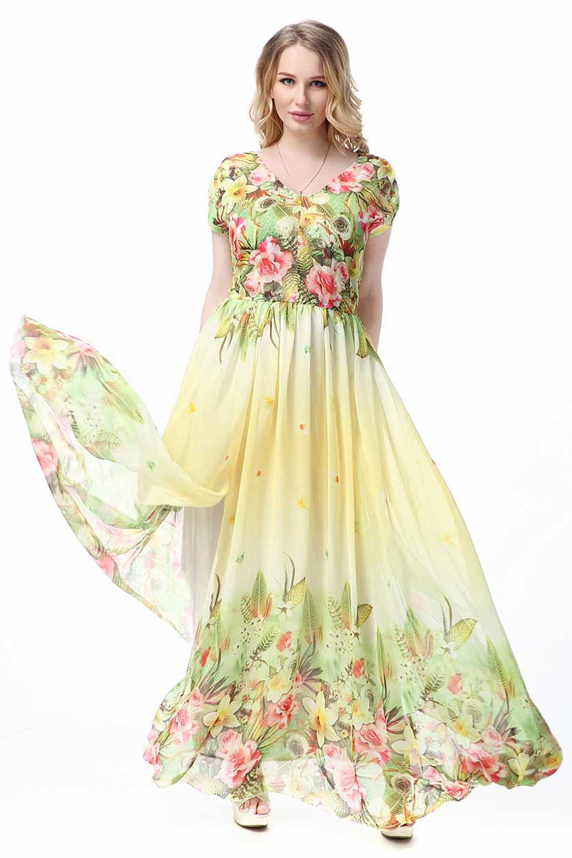 Pastoral Border Floral Print Long Dress