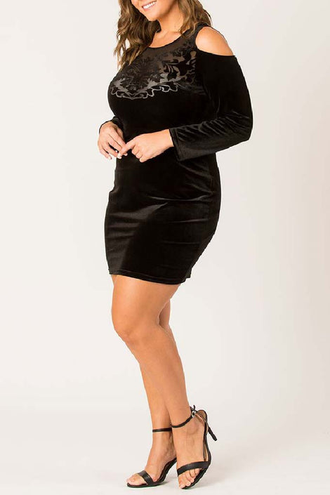 Just a sass velvet dress- Black