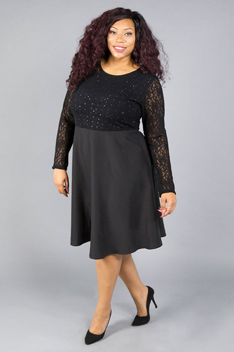 Lace Sequin Satin Dress