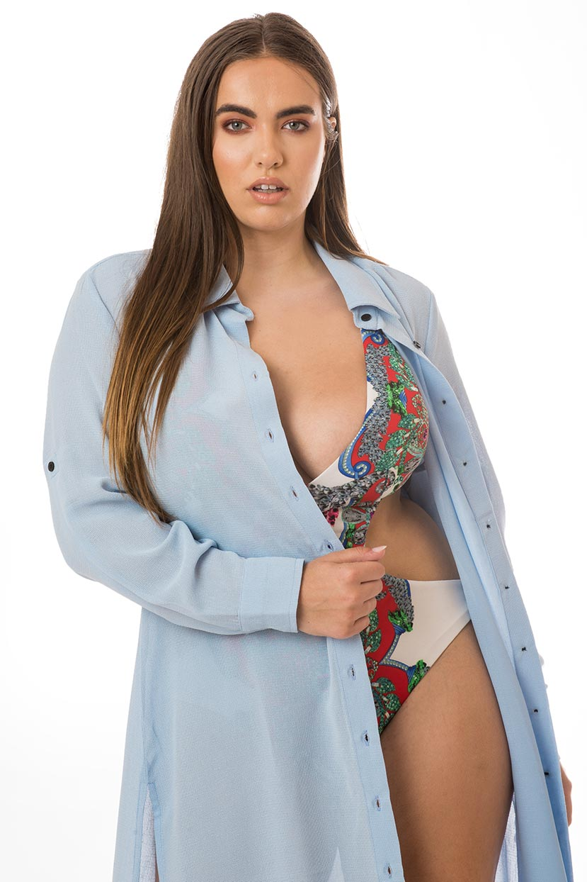 Light Breezy Light Blue Button Cover Up