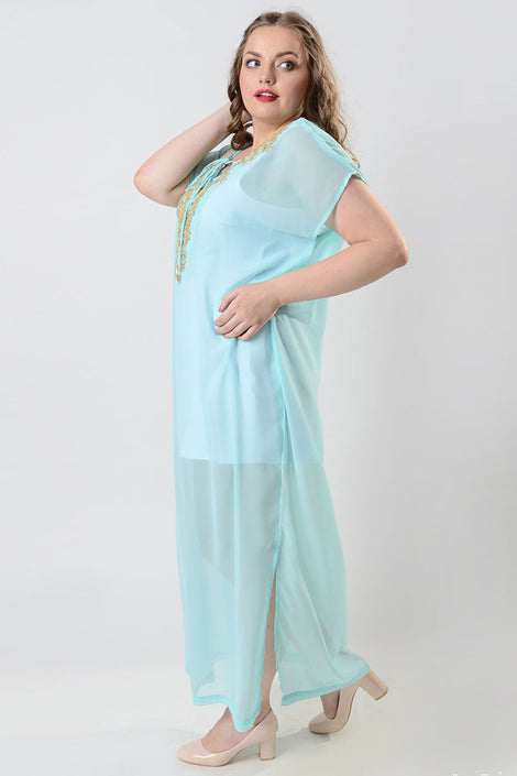 Living with beads blue sheer kaftan dress