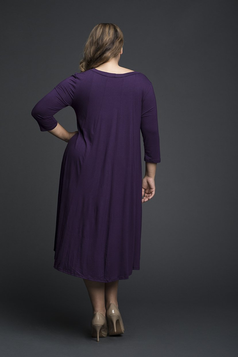 Lycra Purple Pleated everyday Dress