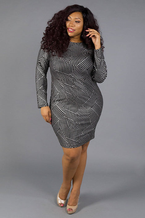 Metallic Texture Bodycon Dress