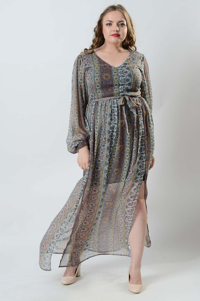 Multi Printed Waist Tie Maxi Dress