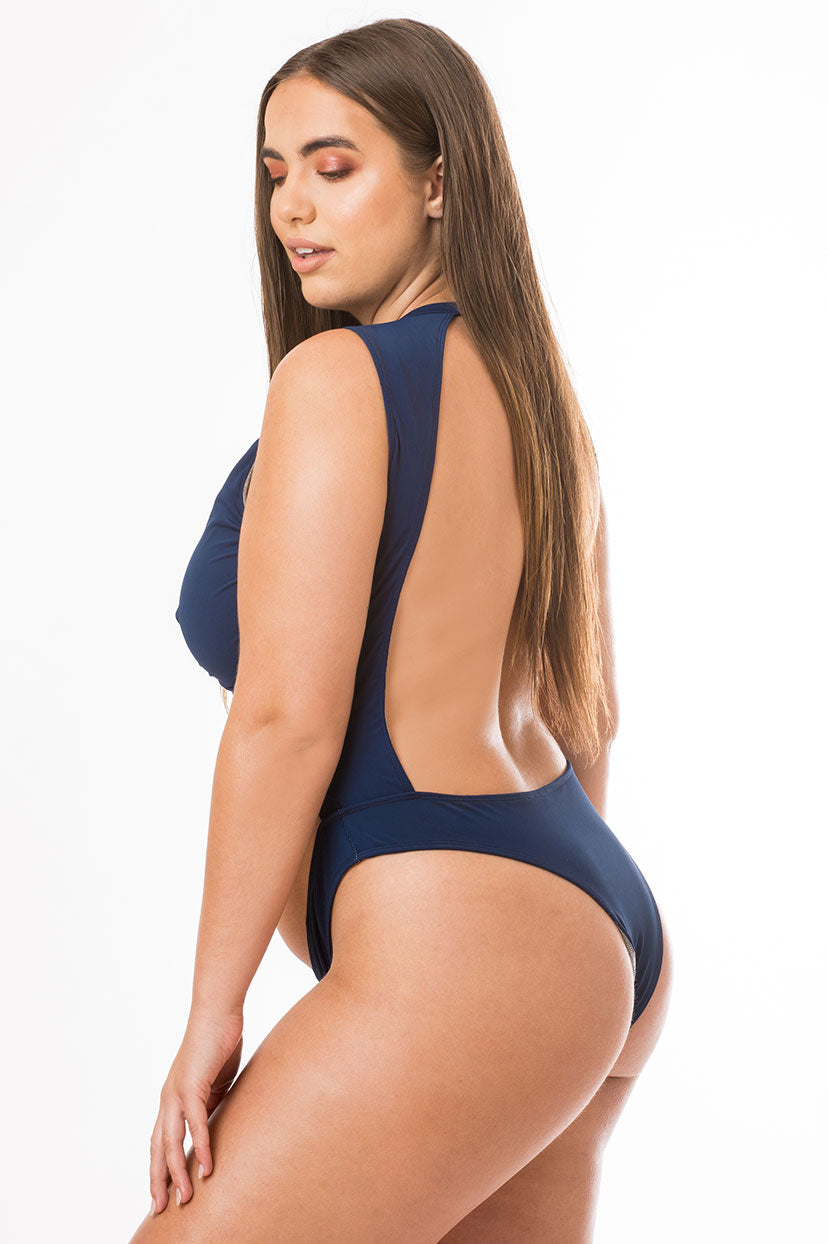Navy Cut Out Backless One Piece