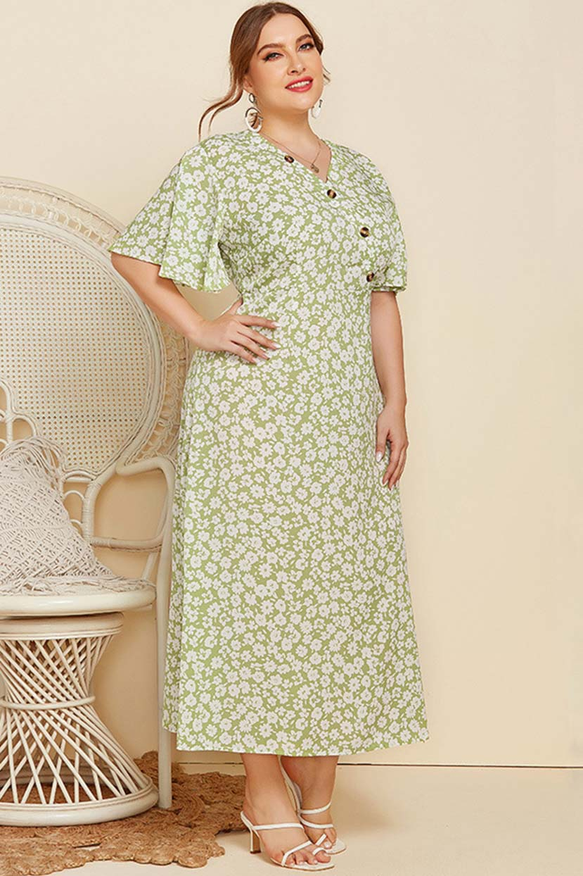 1930s Style Clothing and Fashion Women Chic Floral Dress - Size Up $80.99 AT vintagedancer.com