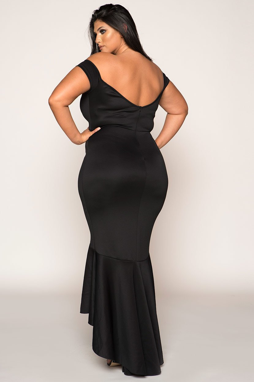Off Shoulder Hourglass Fish Tail Tie Gown