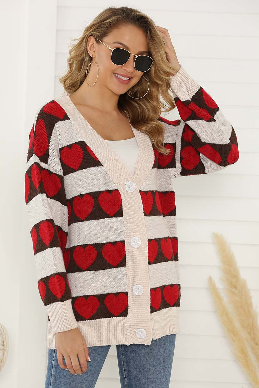 All Over Heart Design Cardigan