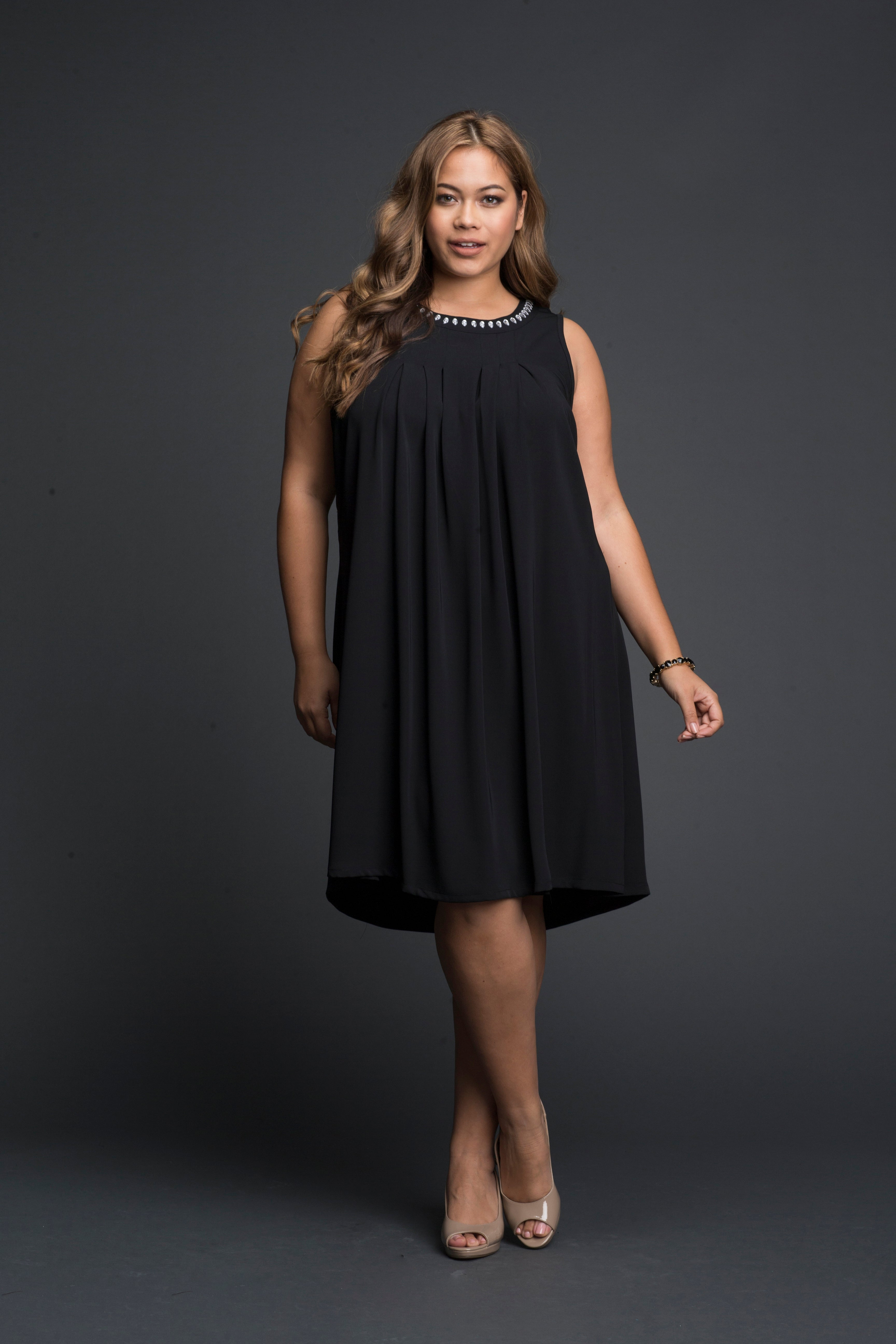 Plus Size Petite Cocktail Short Pleated Gathered Dress