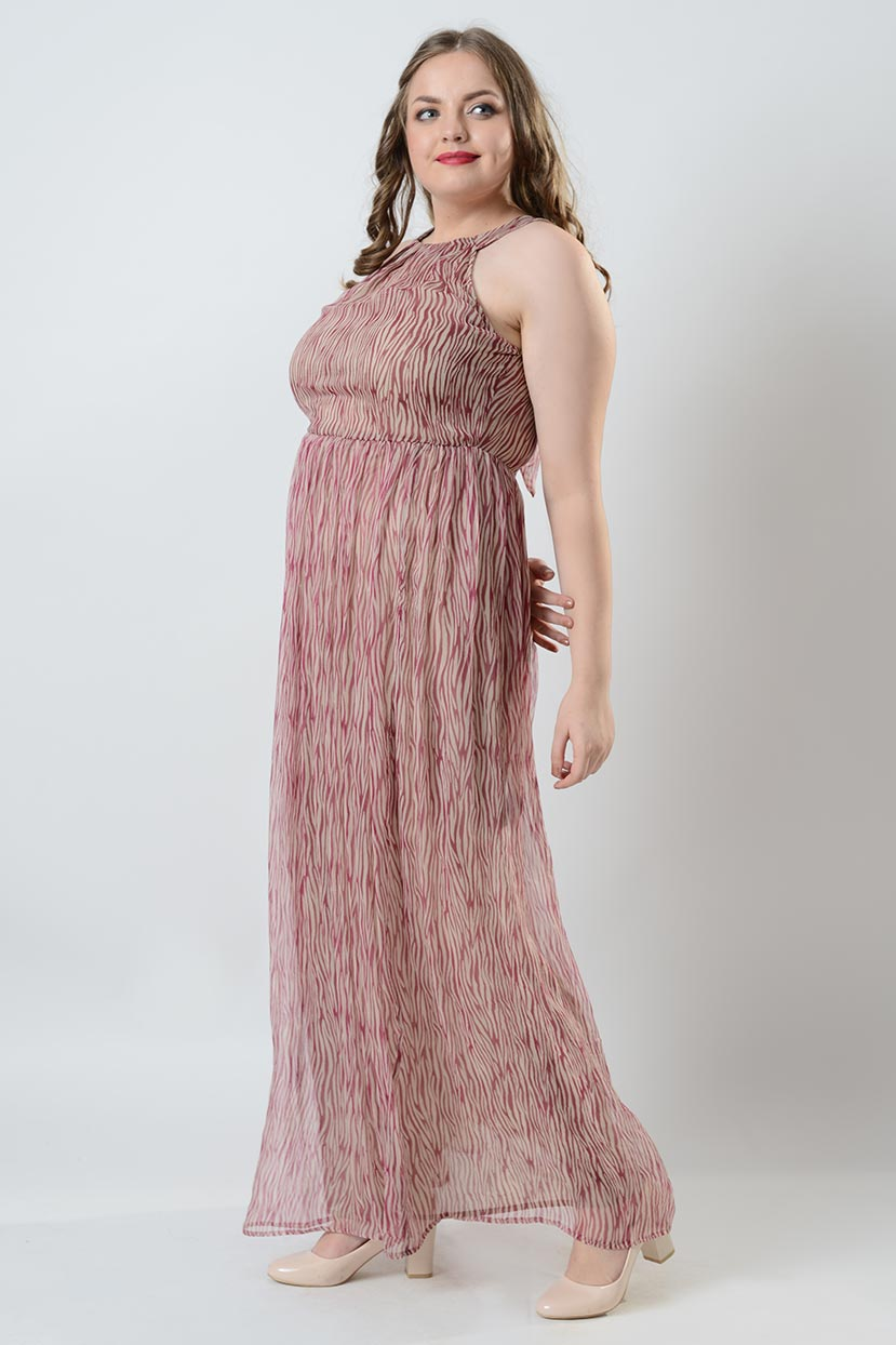 Printed Back Neck Tie Halter Maxi Dress