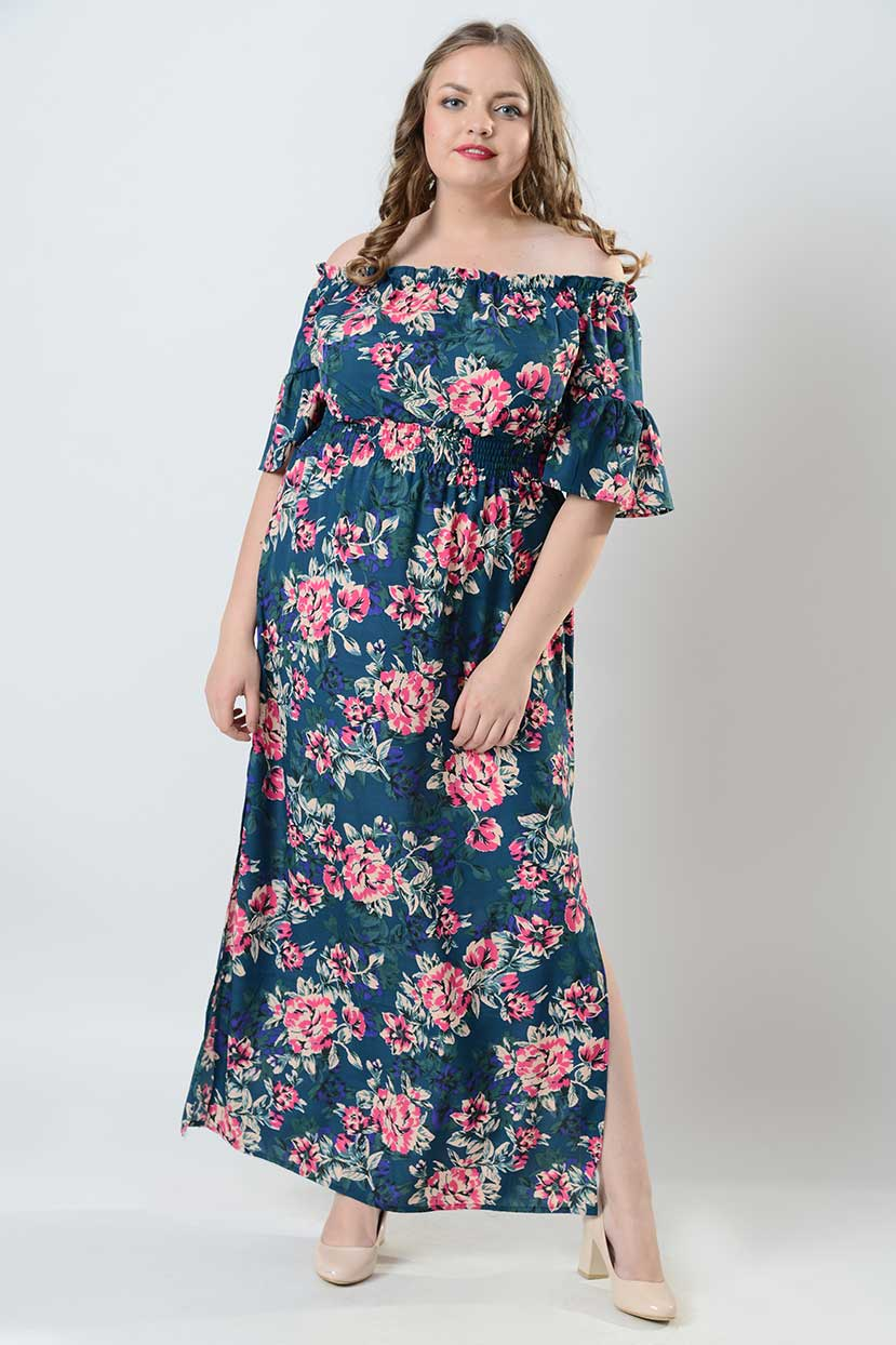 Printed crepe Off-shoulder Maxi Dress