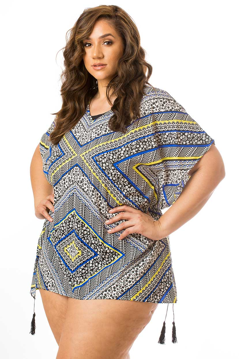 Printed Blue Yellow Cover Up with Tassels