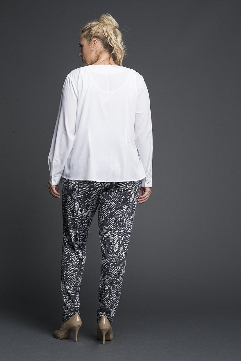 Printed Monochrome Slip on Pants