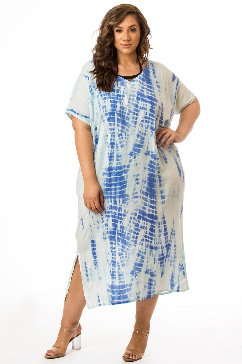 Printed Sky Blue Cover Up