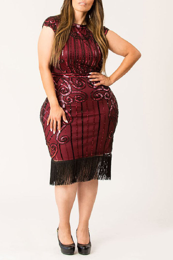 1920s Plus Size Flapper Dresses, Gatsby Dresses, Flapper Costumes Maroon Dazzle Sequined Flapper Dress $99.99 AT vintagedancer.com