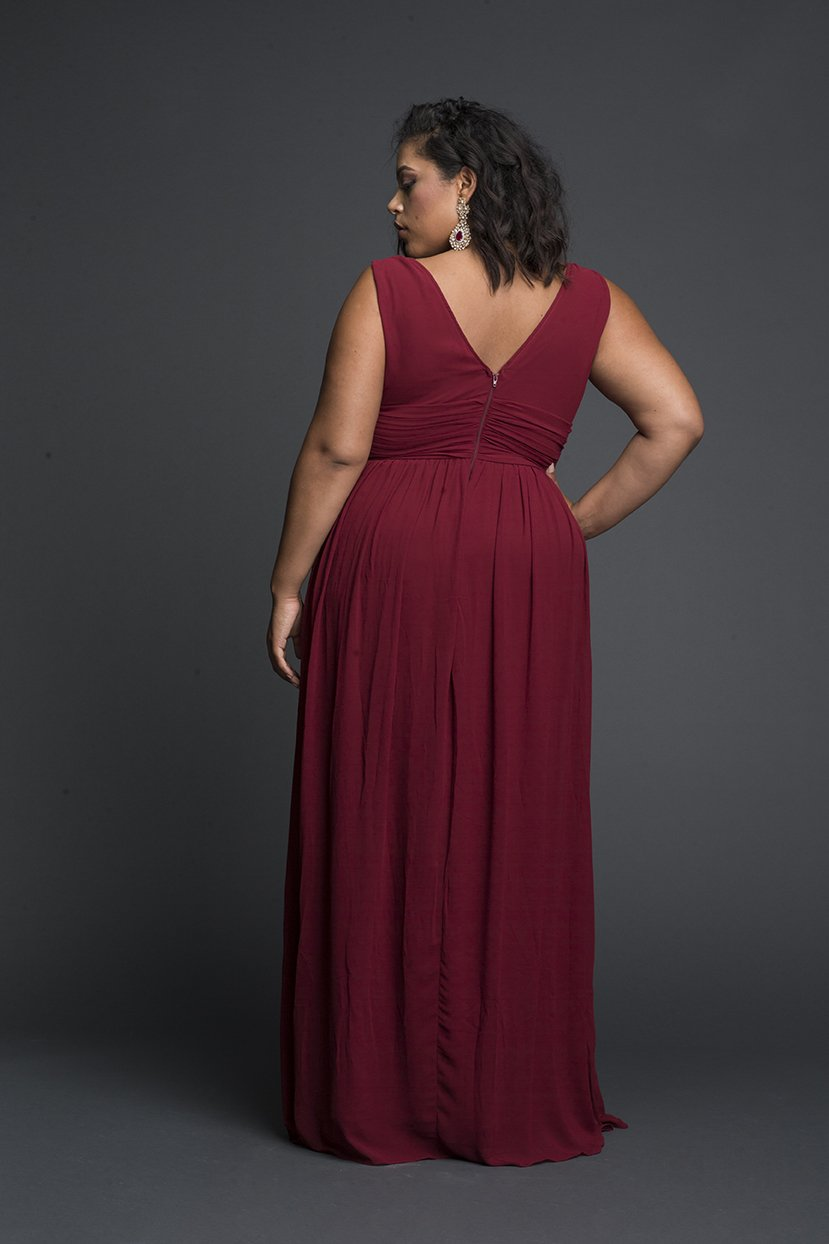 Viscose Plunging Maxi Dress