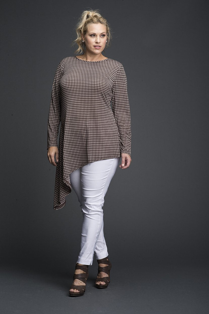 Plus Size Checkered Print Keyhole Cover Up/Tunic