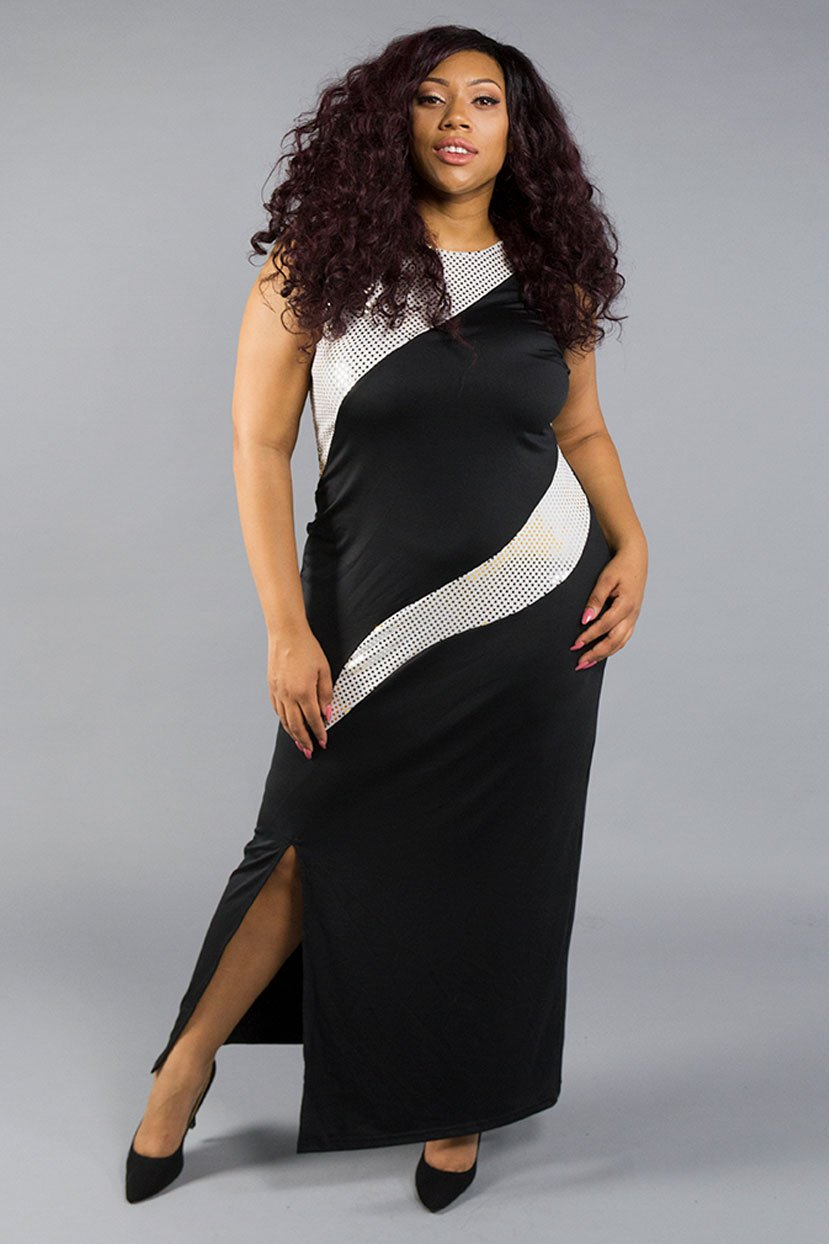 70s Prom, Formal, Evening, Party Dresses Sleeveless Body Shaper Dress with Sequins $27.99 AT vintagedancer.com