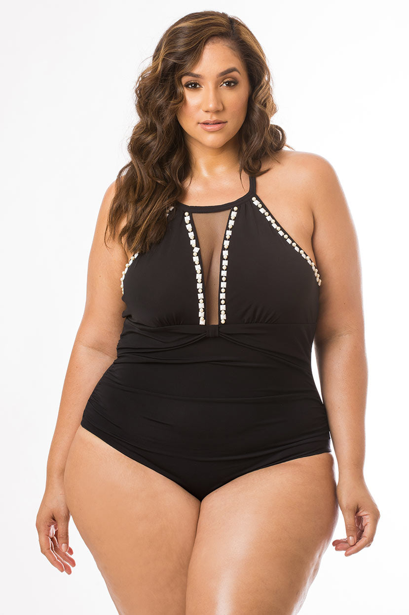 Solid Black One Piece with White Beaded Detail