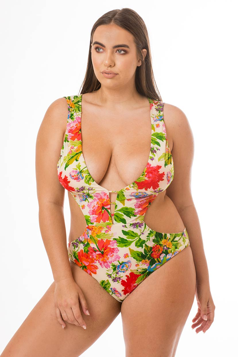 Spring Flowers Backless One Piece