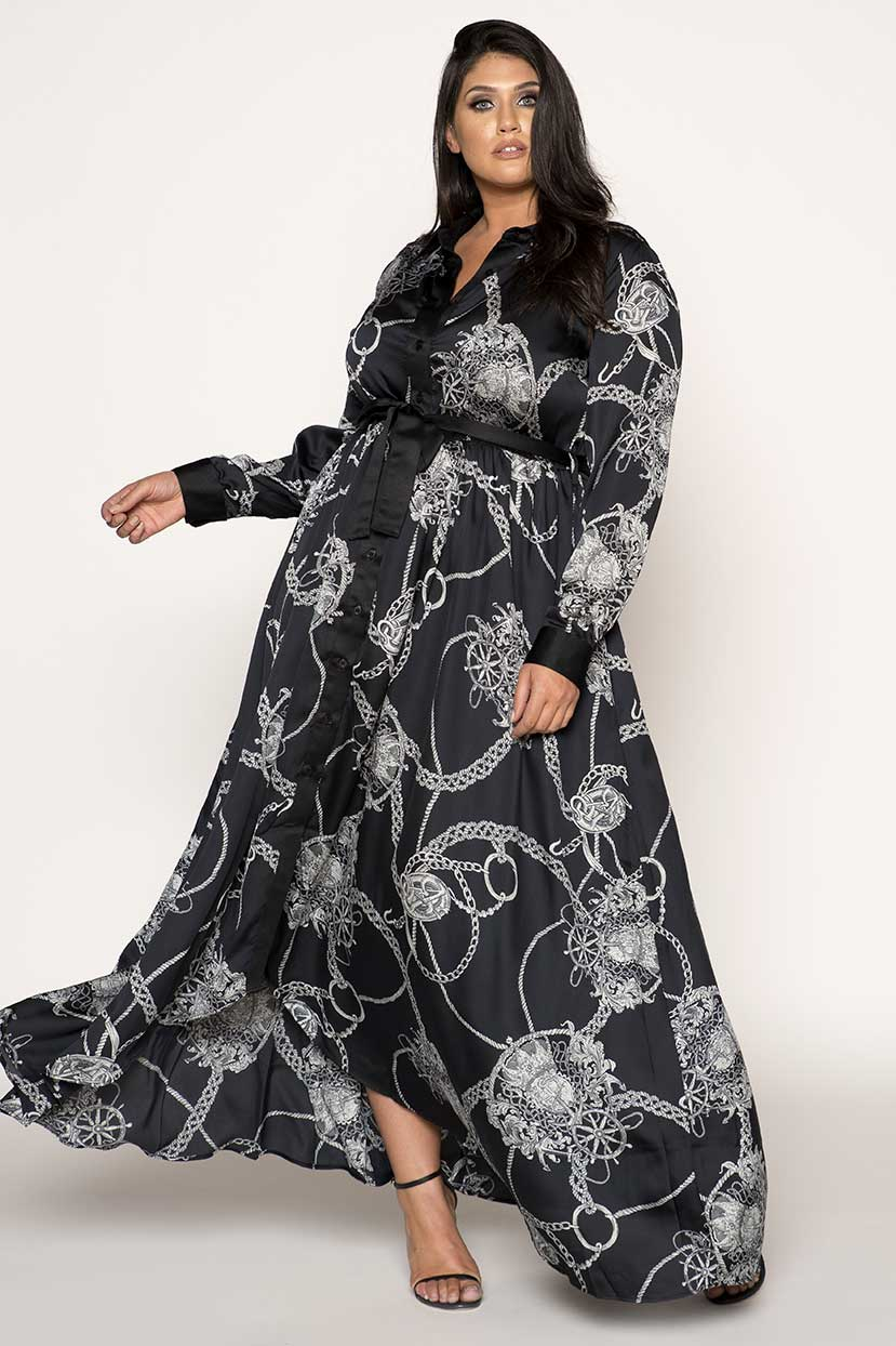 Swirl Print Satin Shirt Maxi Dress