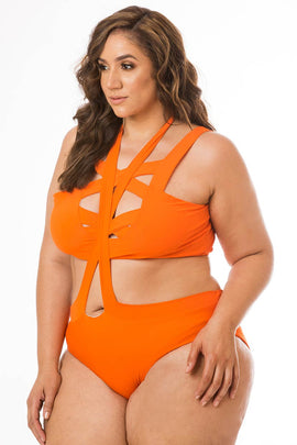 Tangerine Cross Two Piece