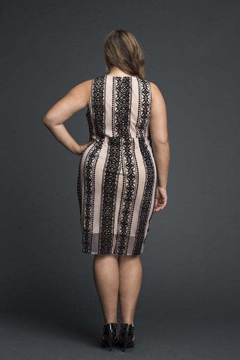 Taupe Spherical Pattern lace Dress