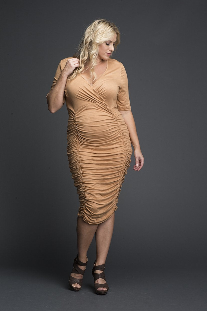 Plus Size V-neck Cocktail Gathered Fitted Plunging Neck Dress