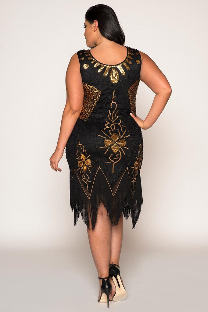 Vintage Flapper Hand Embroidered With Tassels 1920\'s Plus Size Dress