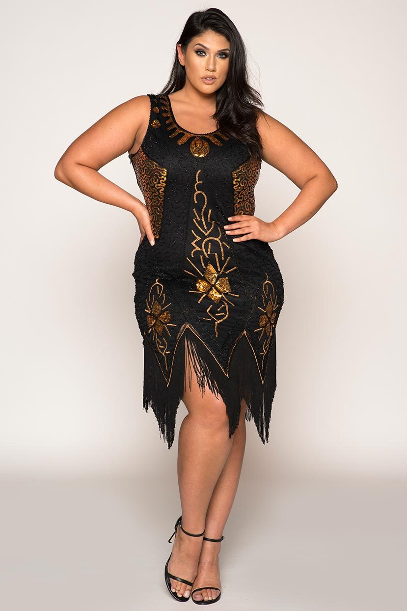 1920s Plus Size Flapper Dresses, Gatsby Dresses, Flapper Costumes Vintage Flapper Hand Embroidered With Tassels 1920s Plus Size Dress $126.49 AT vintagedancer.com
