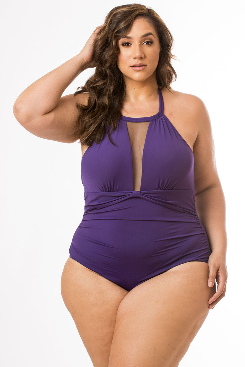 Violet One Piece with Mesh