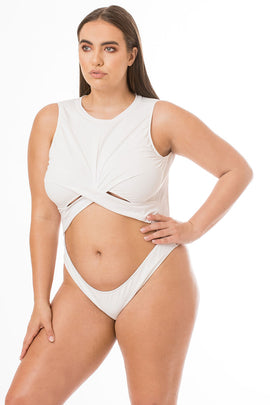 White Cut Out Backless One Piece