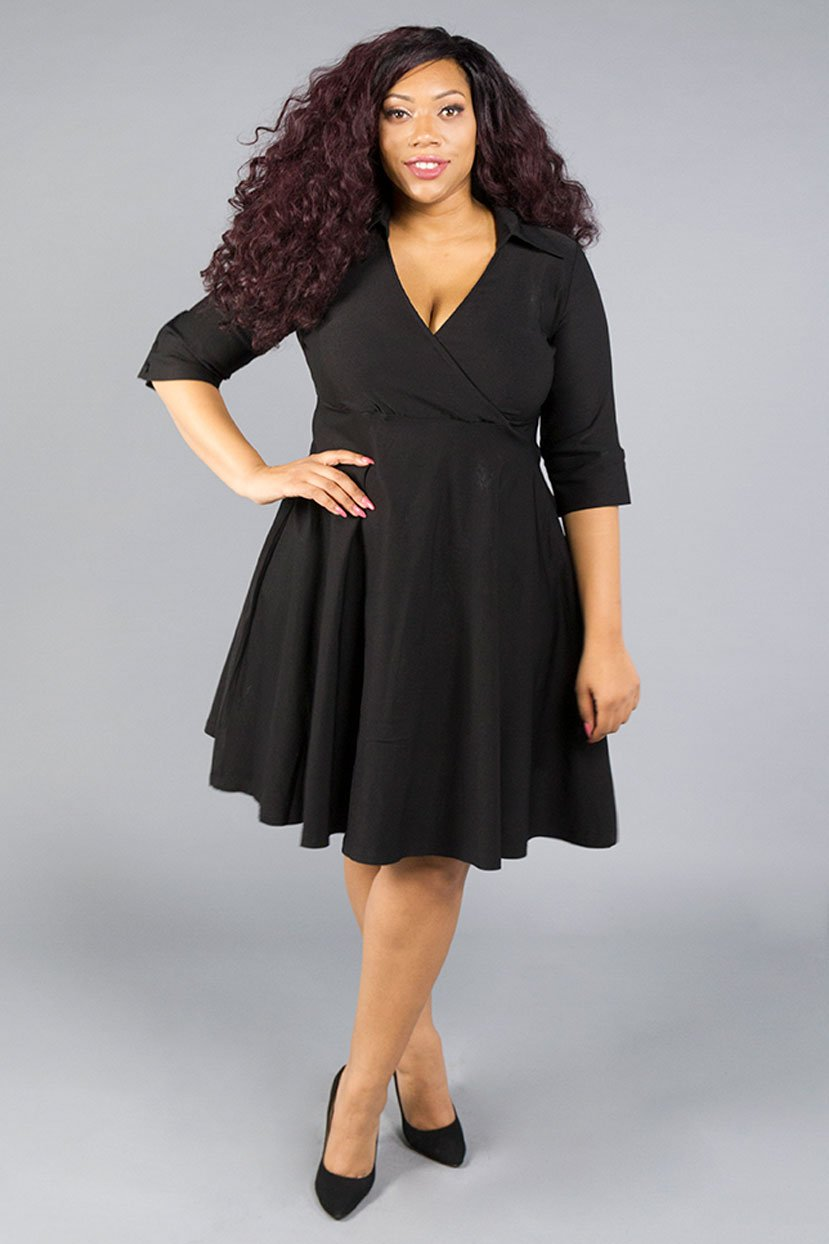 Plus Size Wrap Collared Jersey Shirt Evening Dress
